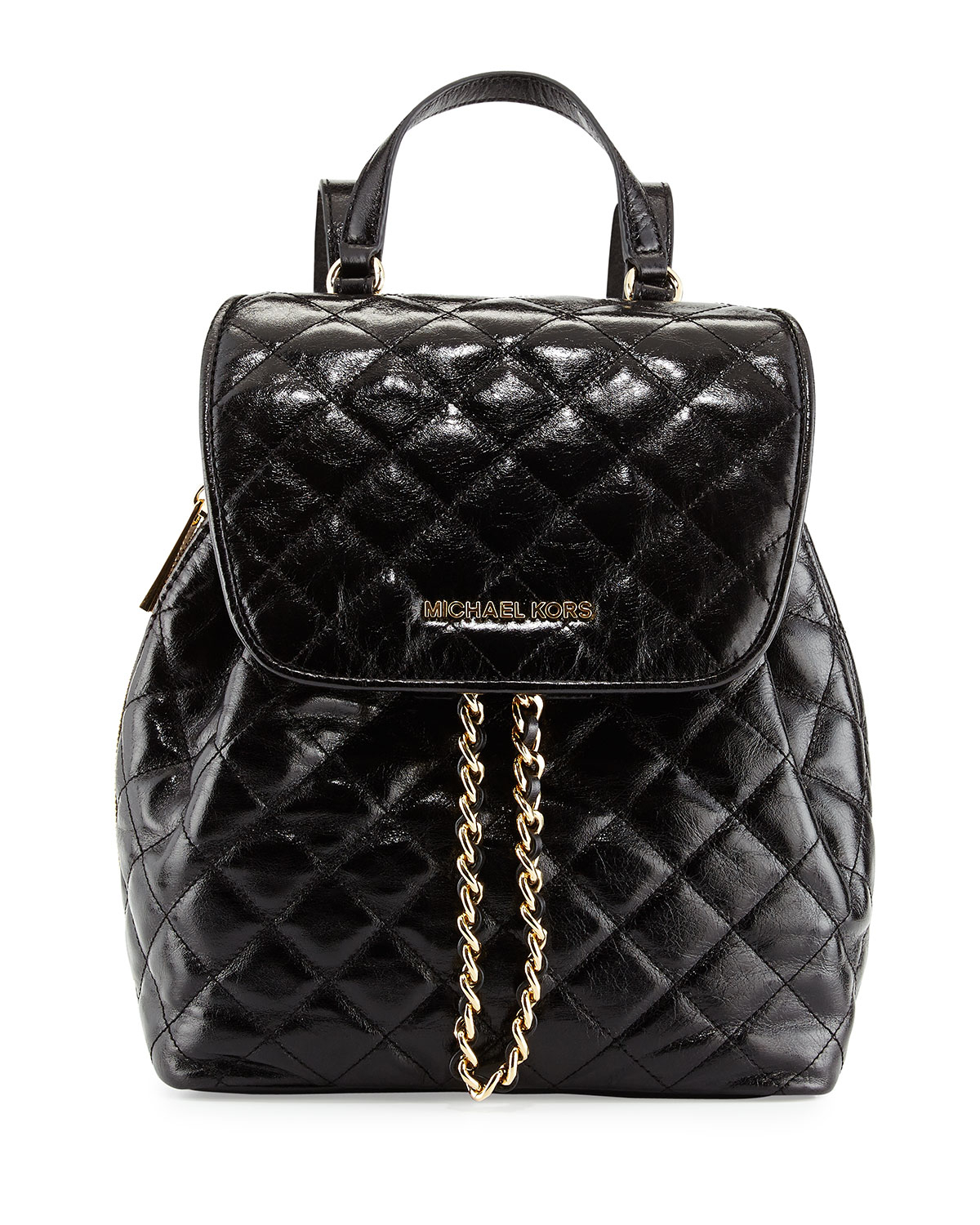 michael michael kors susannah medium quilted backpack in black lyst. Black Bedroom Furniture Sets. Home Design Ideas