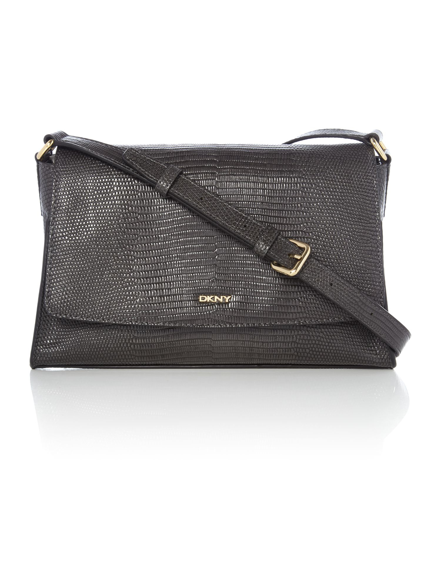 DKNY Leather Sutton Dark Grey Flap Over Cross Body Bag in Grey