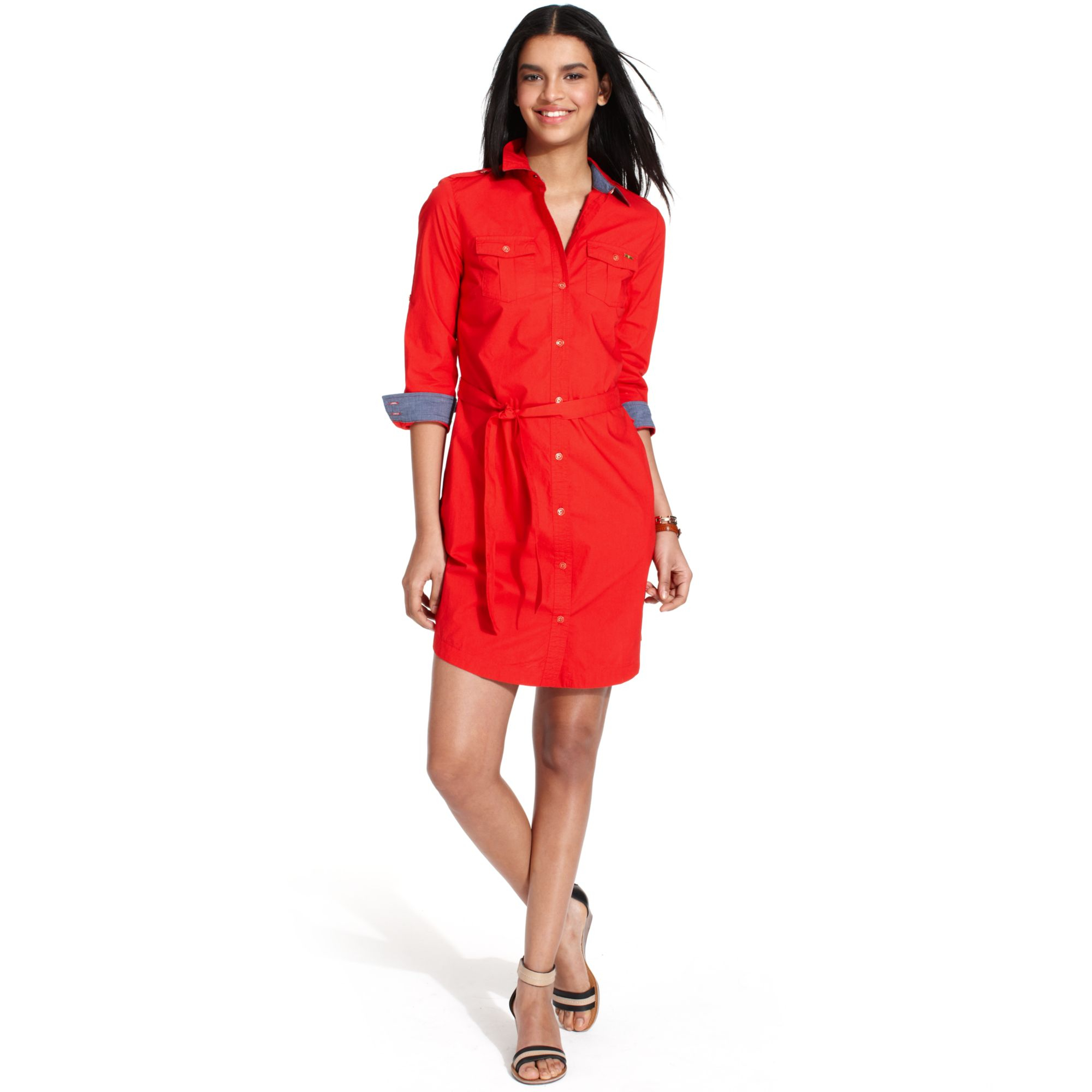 Tommy hilfiger Longsleeve Chambraytrim Belted Shirtdress in Red | Lyst