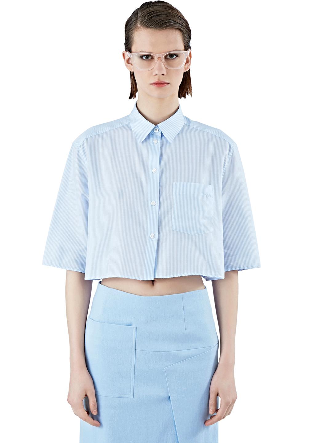 Acne Studios Women 39 S Genera Stripe Cropped Shirt In Blue
