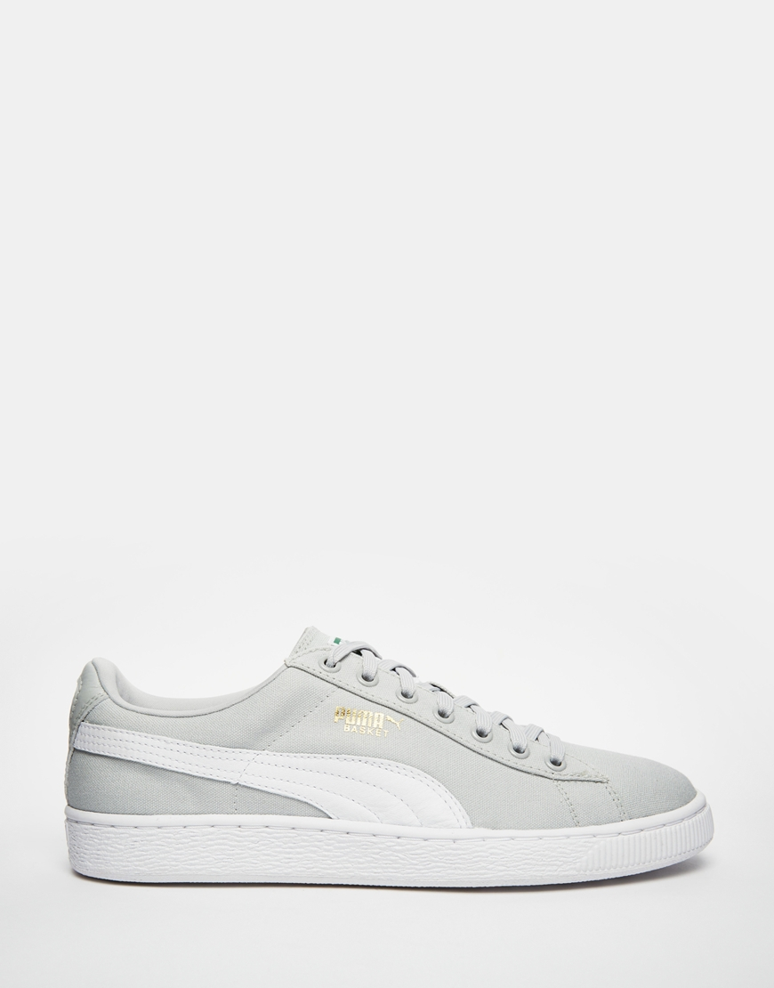 PUMA Gray Basket Classic Canvas Sneakers for men