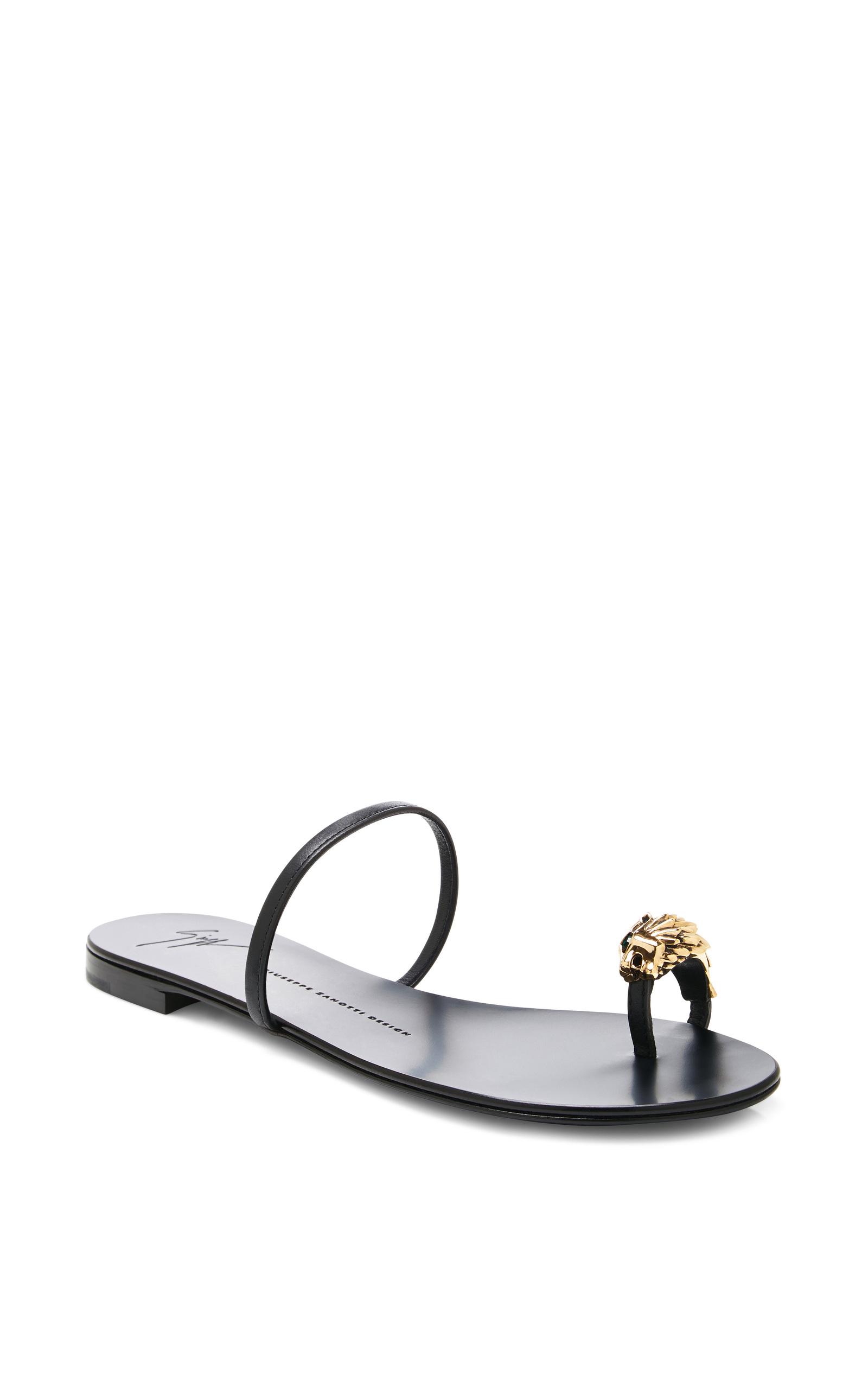 86d4a0f5992eb Giuseppe Zanotti Rock Lion-head Leather Sandals in Black - Lyst