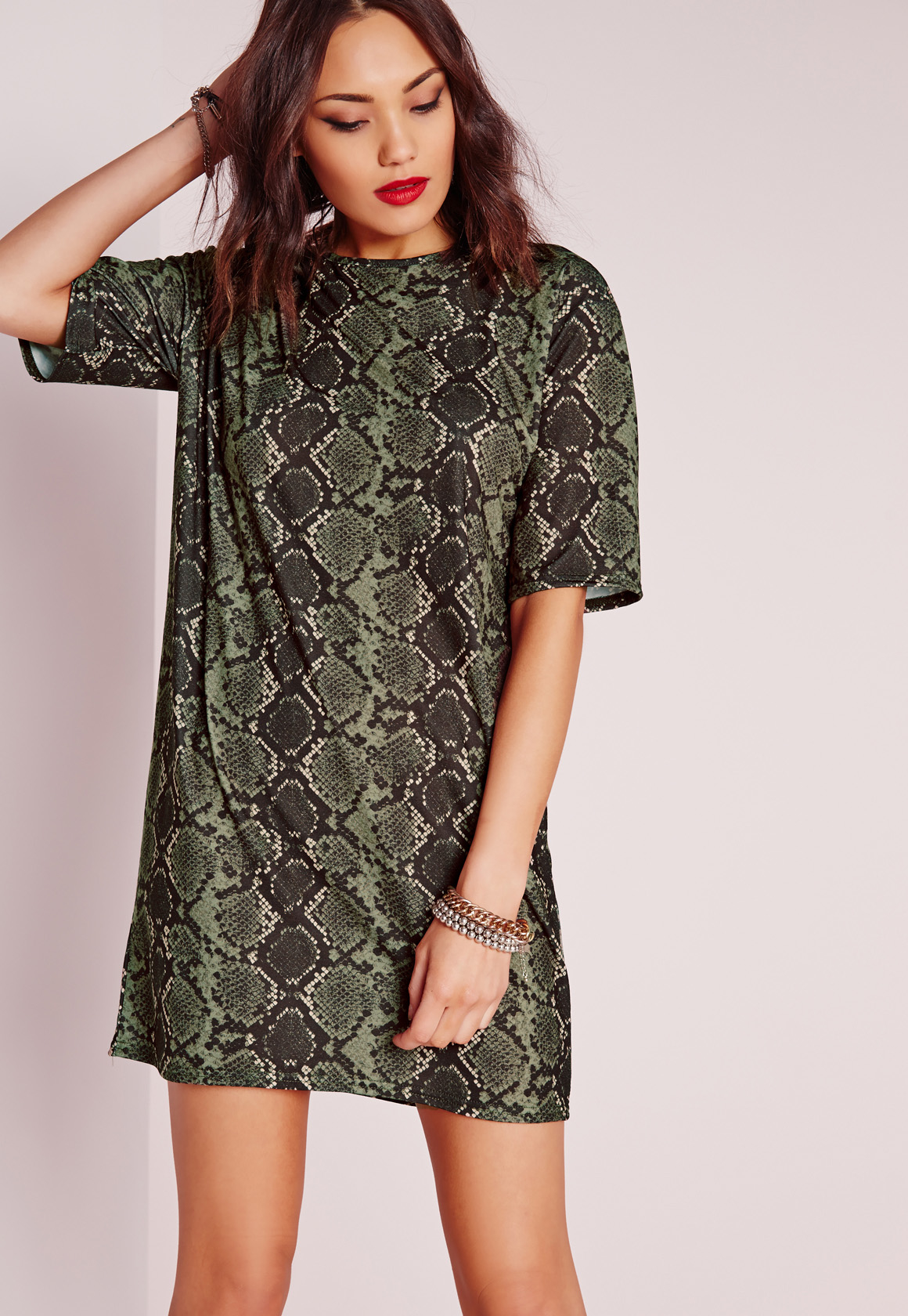 Missguided Snake Print T-shirt Dress Khaki In Green | Lyst
