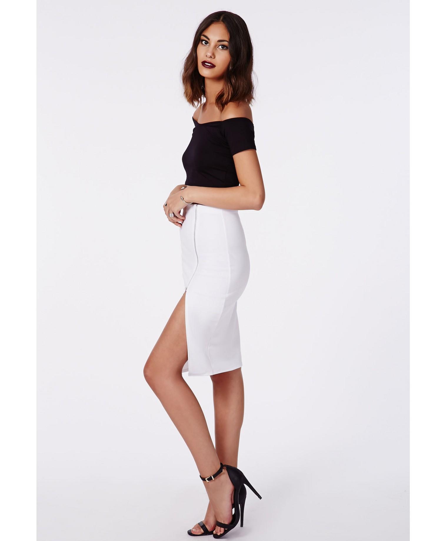 missguided alyx zip side split midi skirt white in white