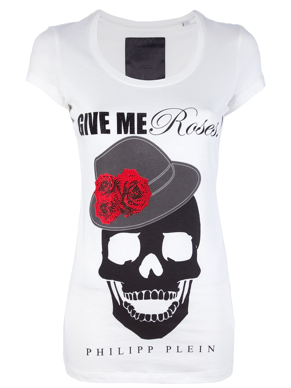 philipp plein give me roses tshirt in white lyst. Black Bedroom Furniture Sets. Home Design Ideas