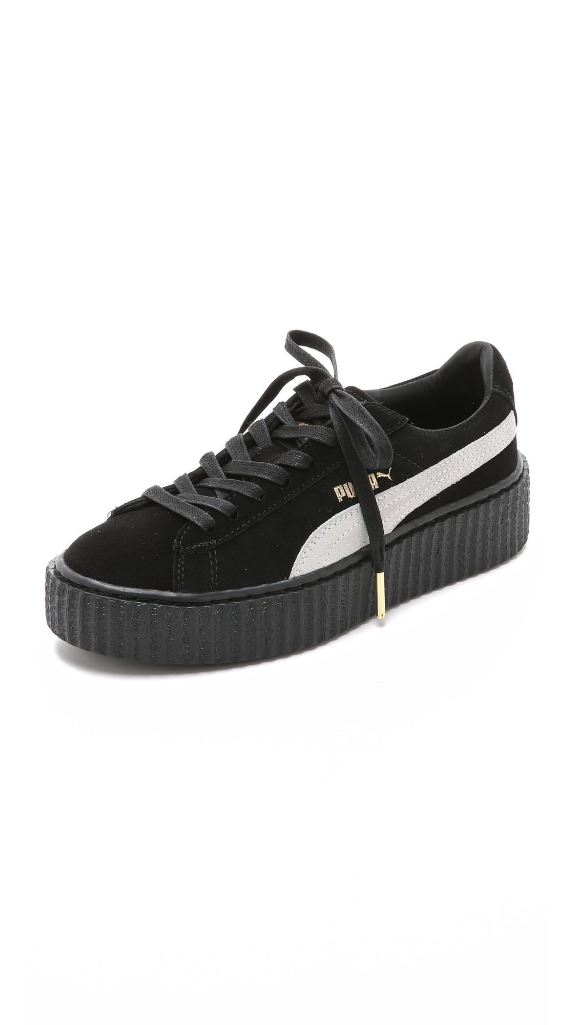 puma x rihanna creeper sneakers black in black lyst. Black Bedroom Furniture Sets. Home Design Ideas