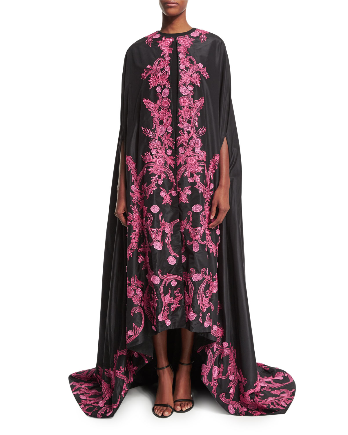 Monique lhuillier Floral-embroidered Evening Cape in Pink ...