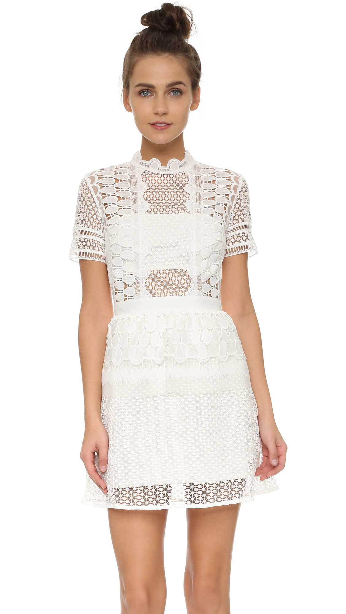 Lyst - Self-Portrait Guipure Lace Peplum Mini Dress in White