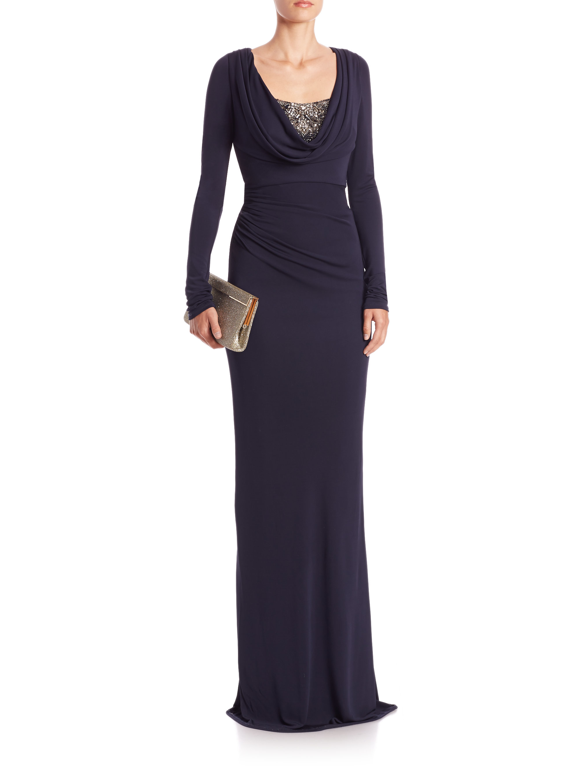 Lyst - David Meister Cowl-Neck Jersey Gown in Blue