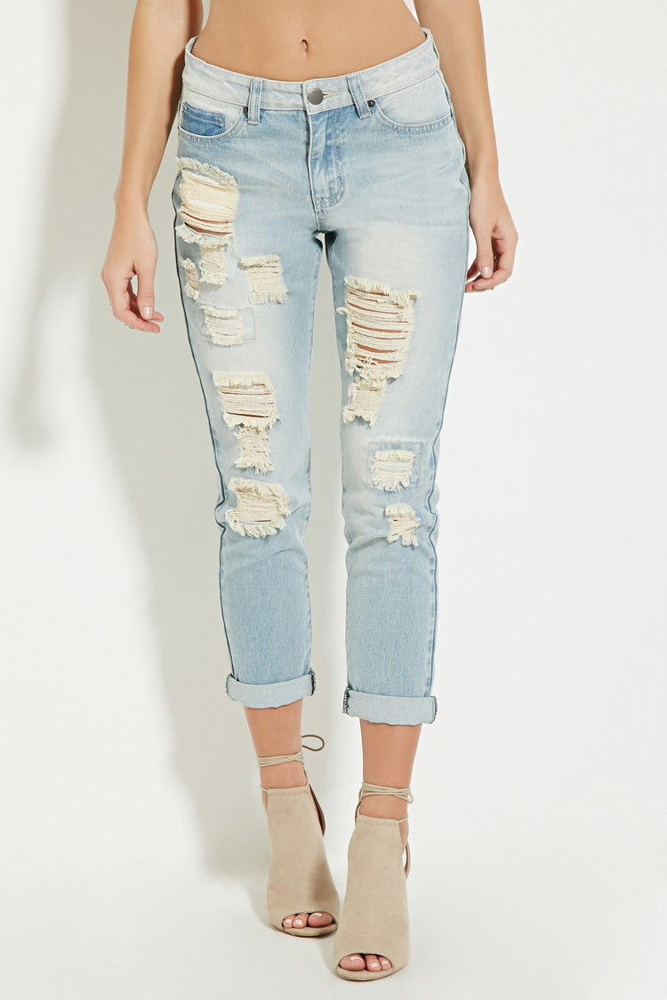 Forever 21 High-waisted Distressed Jeans in Blue | Lyst