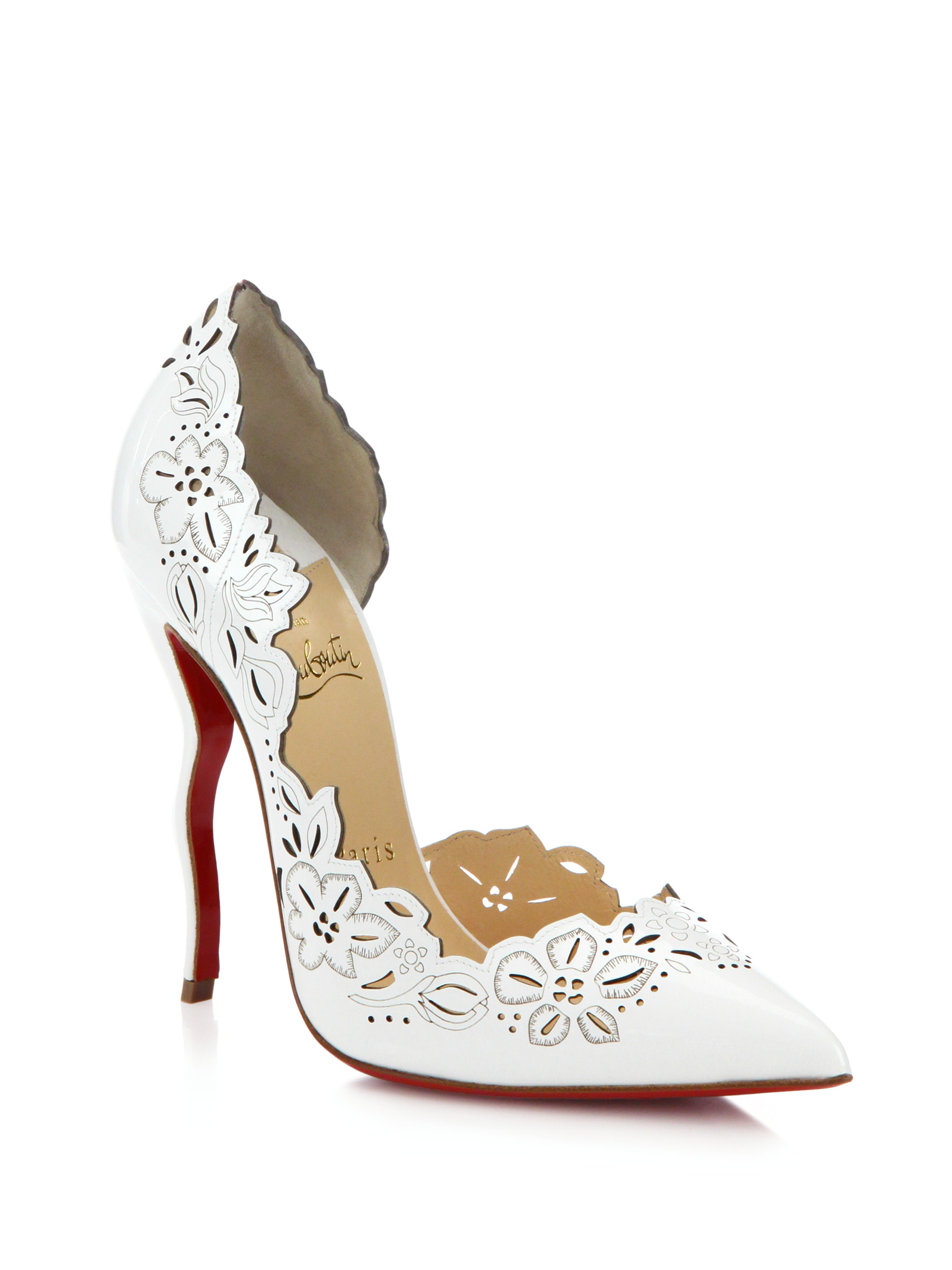 05ea1f55e0db Lyst - Christian Louboutin Beloved Laser-cut Patent Leather Pumps in ...
