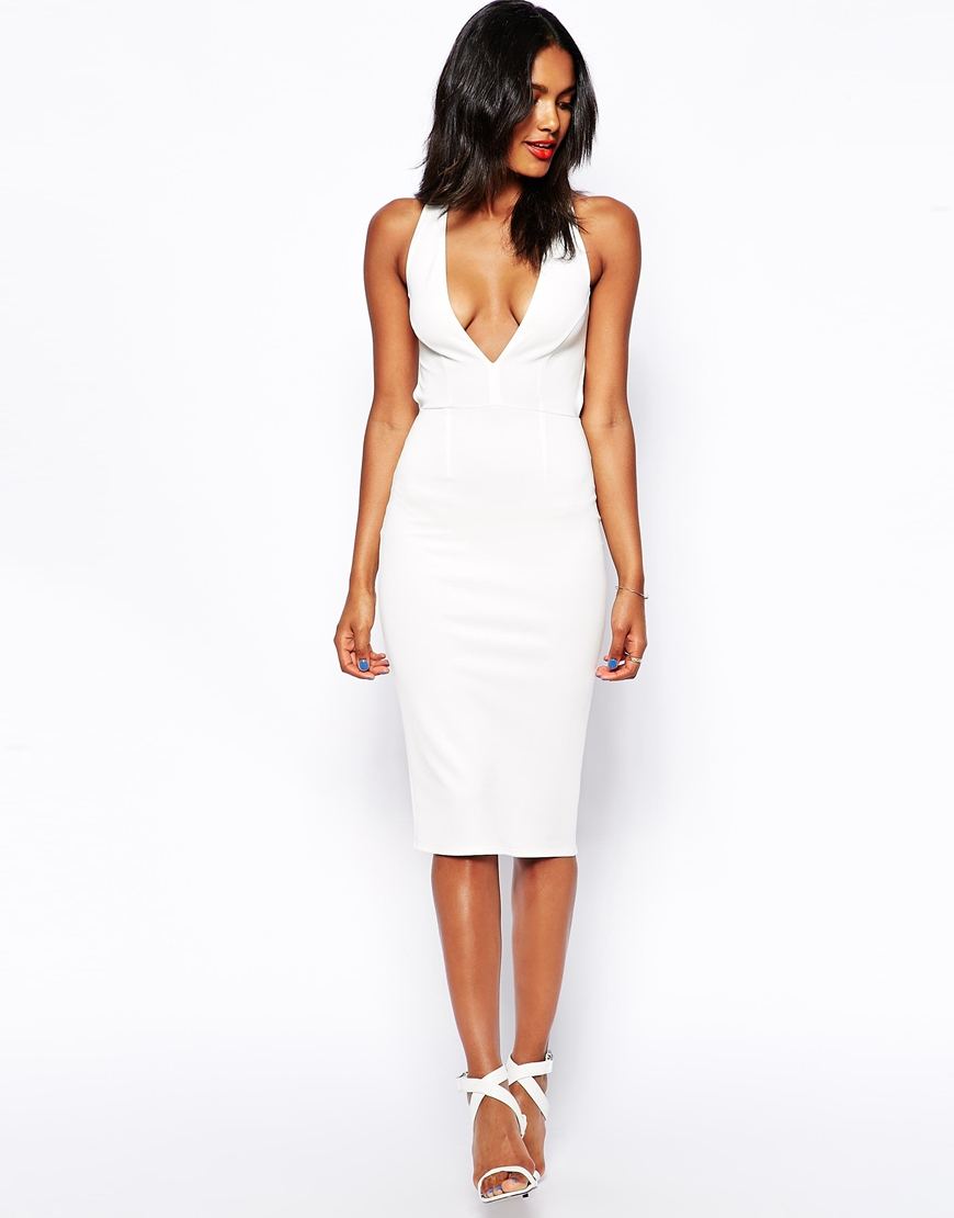 Lyst Oh My Love Plunge Neck Midi Bodycon Dress With Low