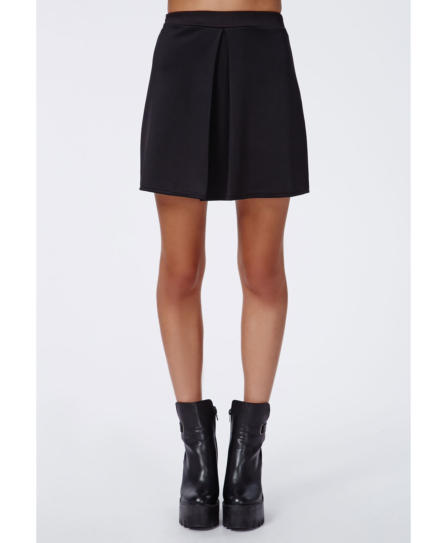 missguided rene front pleat a line skirt black in black lyst