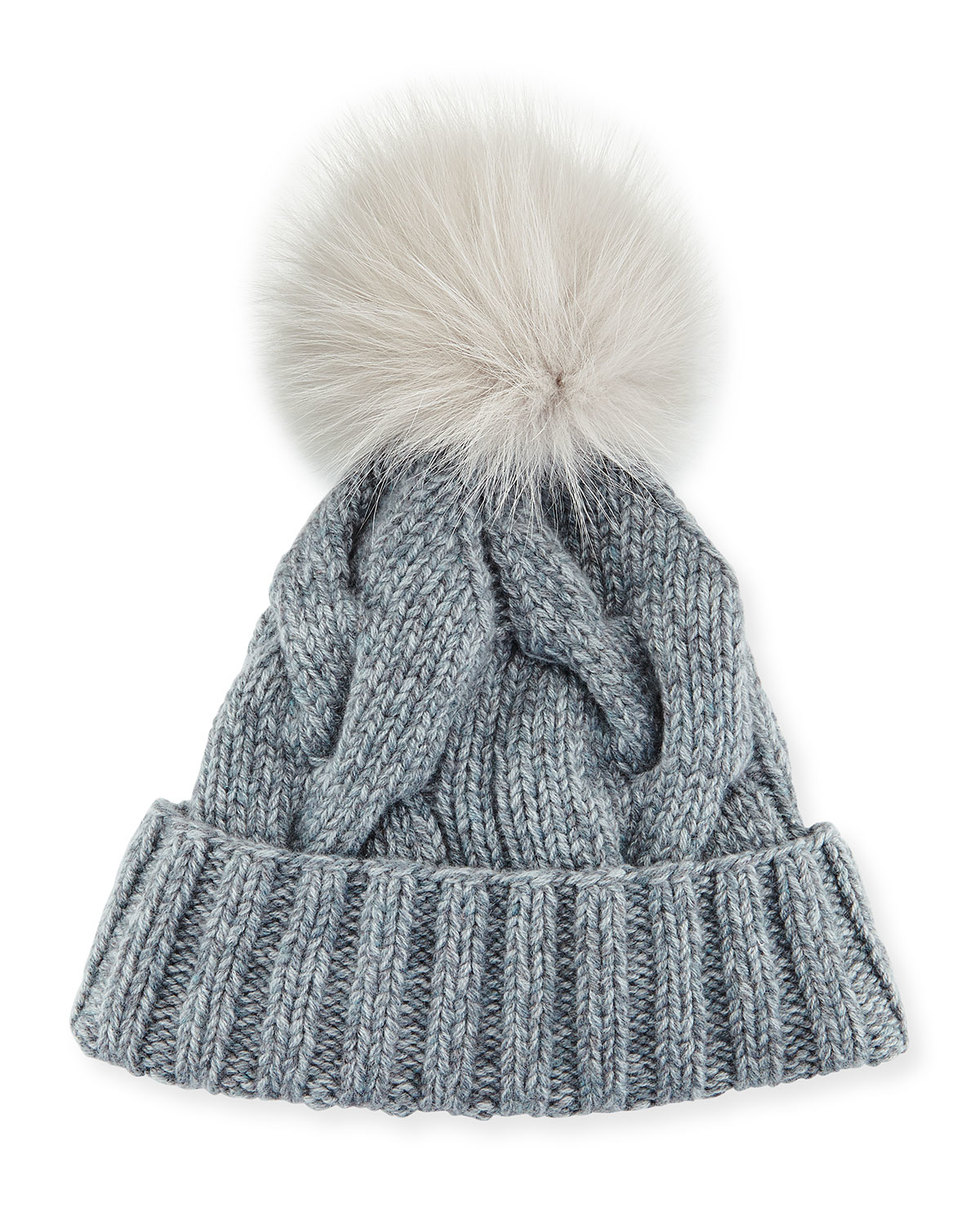 Loro Piana Cable Knit Fur Pom Pom Hat In Brown Lyst