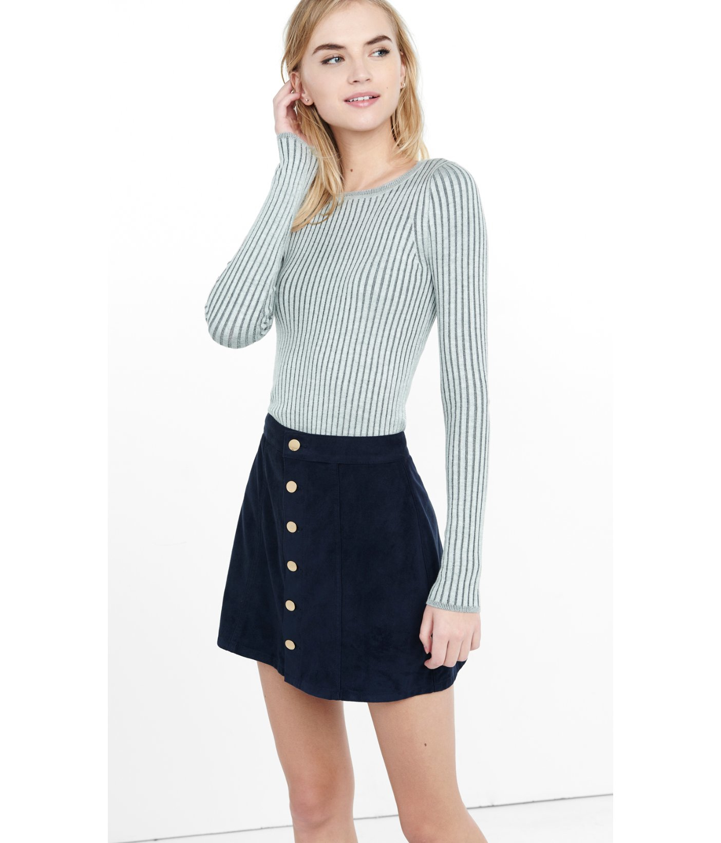 Express Plaited Crew Neck Wide Ribbed Sweater in Gray   Lyst