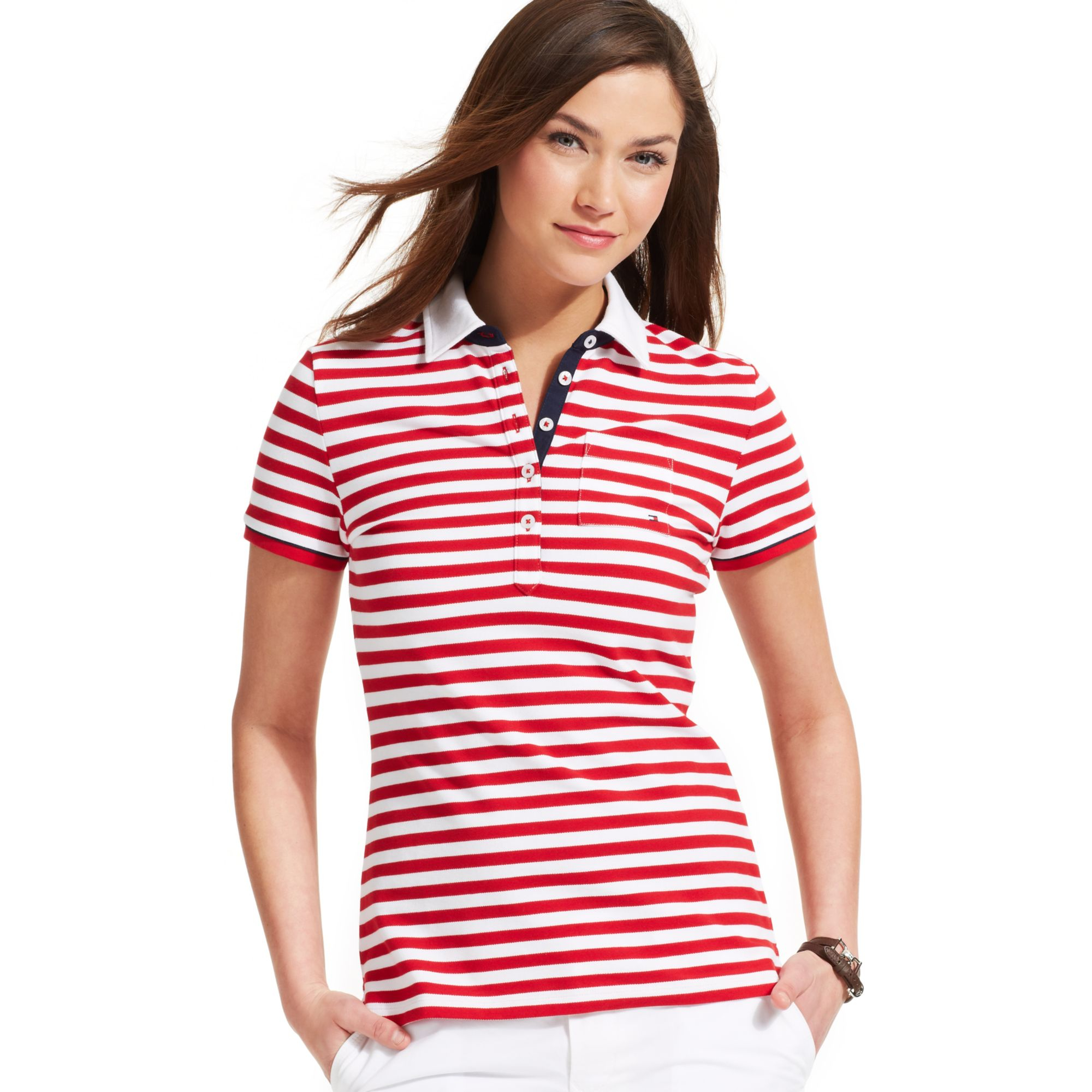 Tommy Hilfiger Short Sleeve Striped Contrast Trim Polo in
