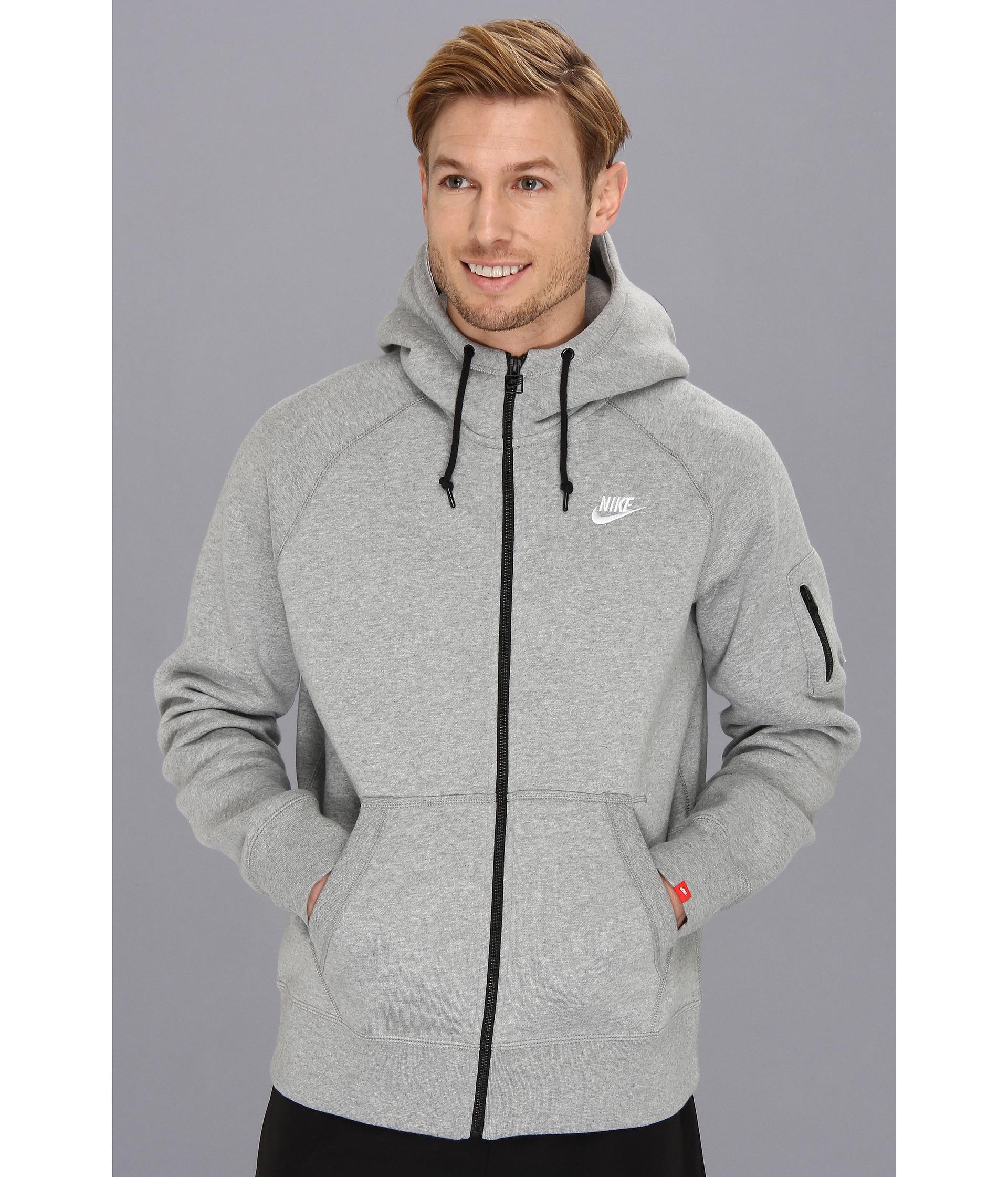 Fleece Hoodie Aw77 For Fz Nike Men Gray tBhCsoQrdx