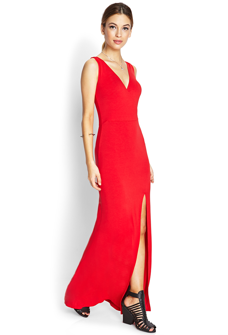 a7a3fece646 Forever 21 Sleek Surplice Slit Maxi Dress in Red - Lyst