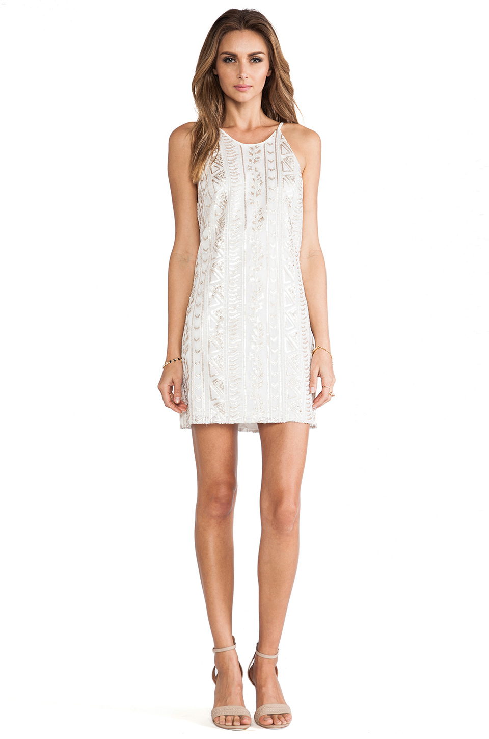 Dress The Population Jamie Sequin Tank Dress In White Lyst