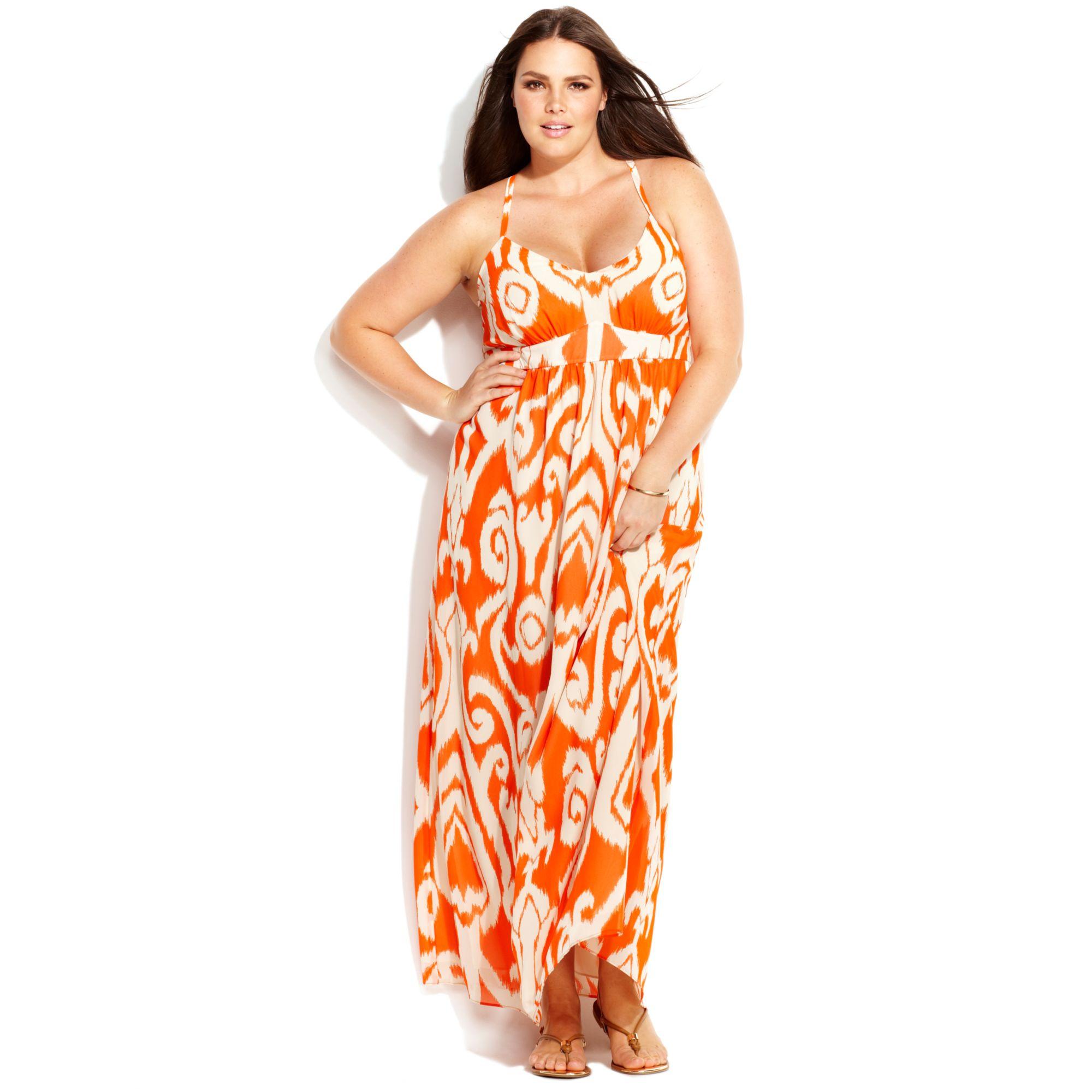 INC International Concepts Orange Plus Size Sleeveless Printed Maxi Dress