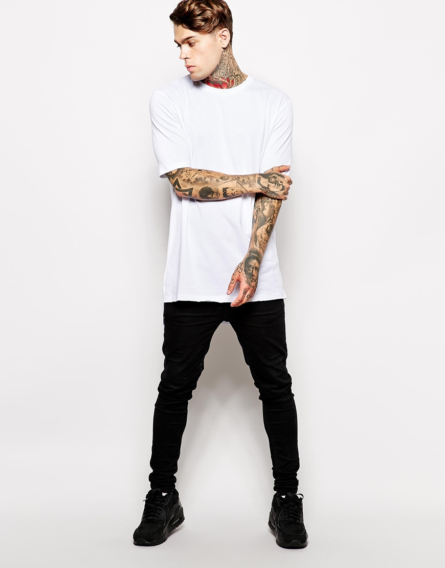 Lyst - ASOS Super Longline T-shirt With Stepped Hem Skater Fit in White for  Men 77362faad52