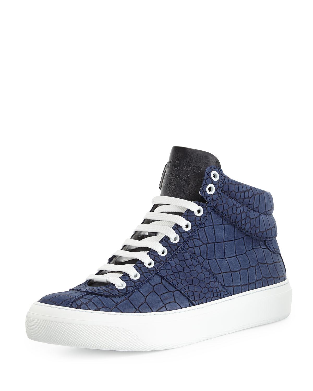 jimmy choo belgravia croc embossed sneakers in blue for men lyst. Black Bedroom Furniture Sets. Home Design Ideas