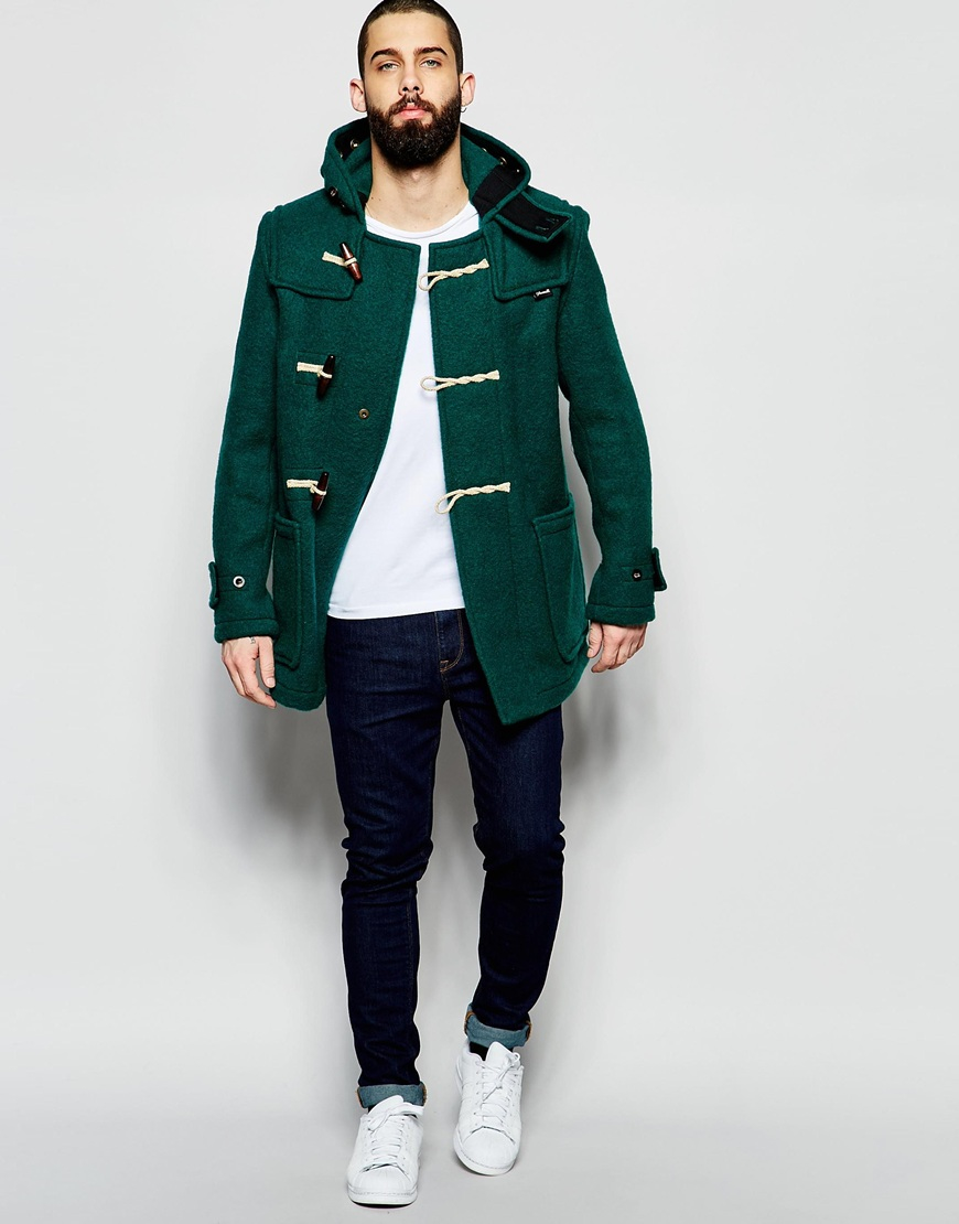 Gloverall Mid Monty Duffle Coat in Green for Men | Lyst