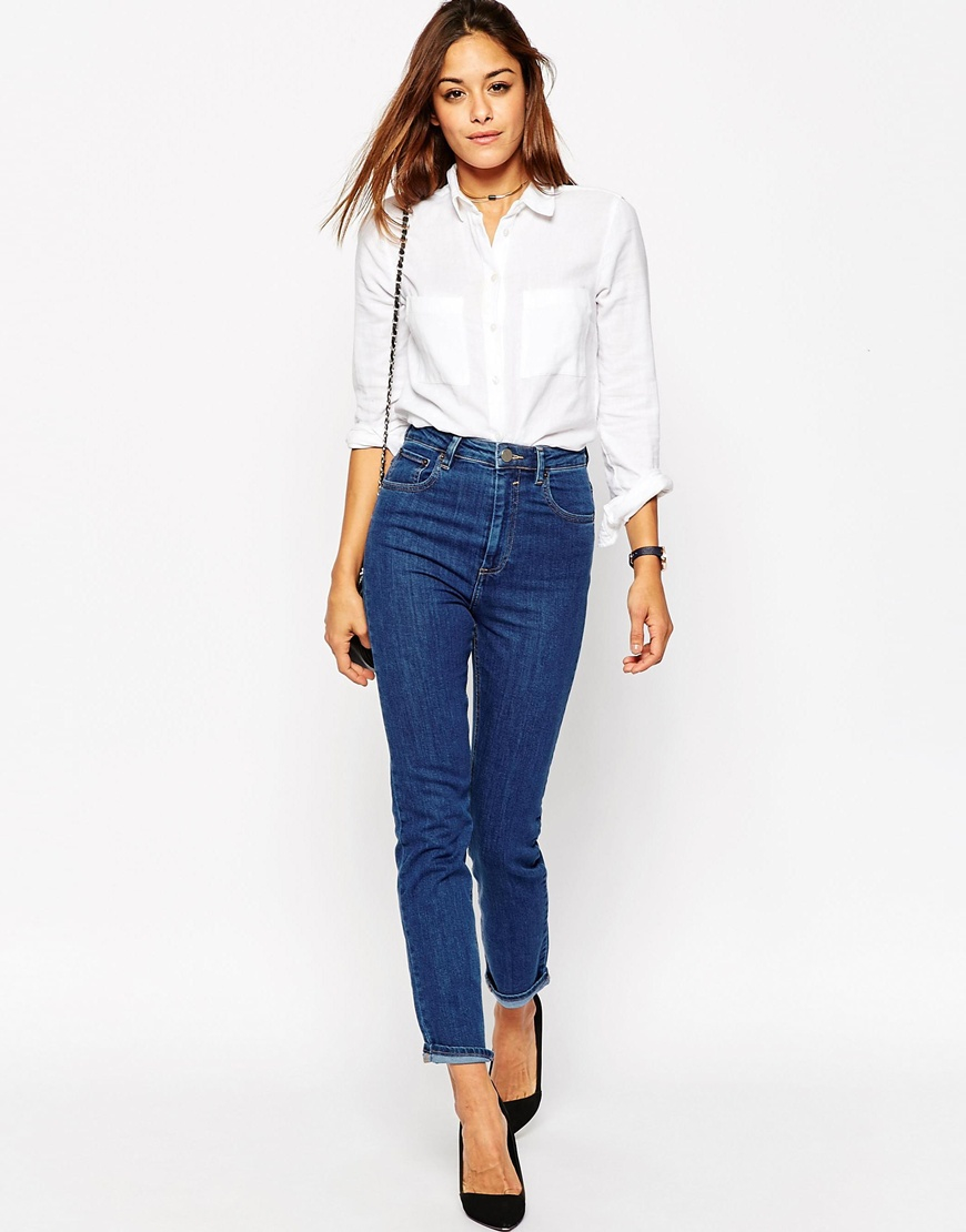 Asos Farleigh High Waist Slim Mom Jeans In Bonnie Wash With Super Wide Busted Knee It is specifically a subcategory of females design apparel and there is a positive range of many others, which characterize all the diverse areas of clothes that the gals, will get.
