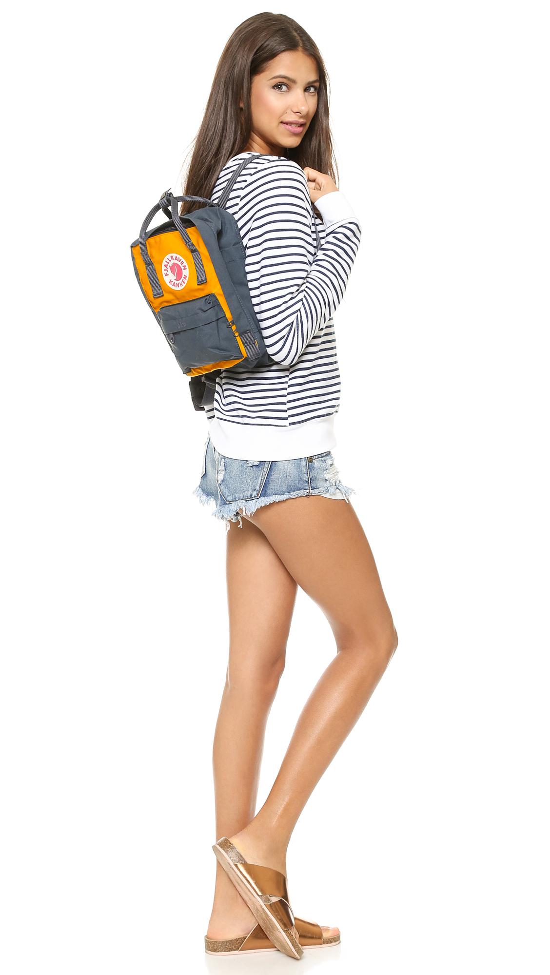 56b82ebc2a Fjallraven Kanken Mini Backpack - Navy warm Yellow in Yellow - Lyst