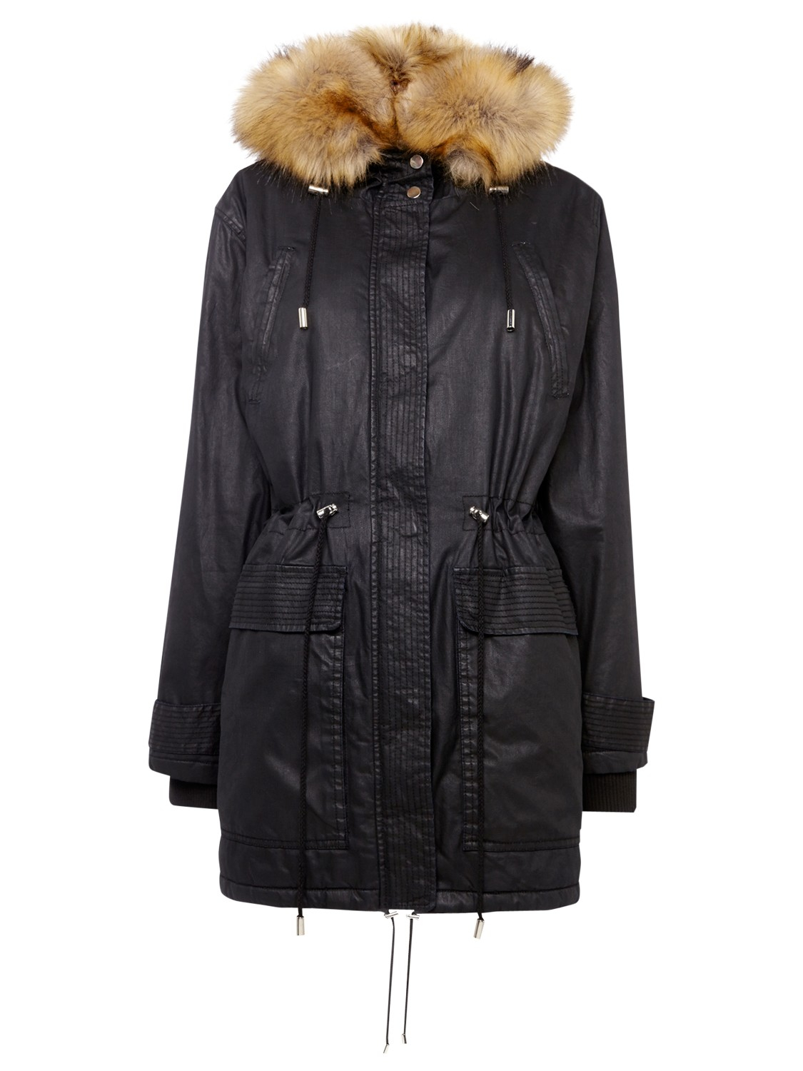 Whistles Marley Waxy Parka In Black Lyst