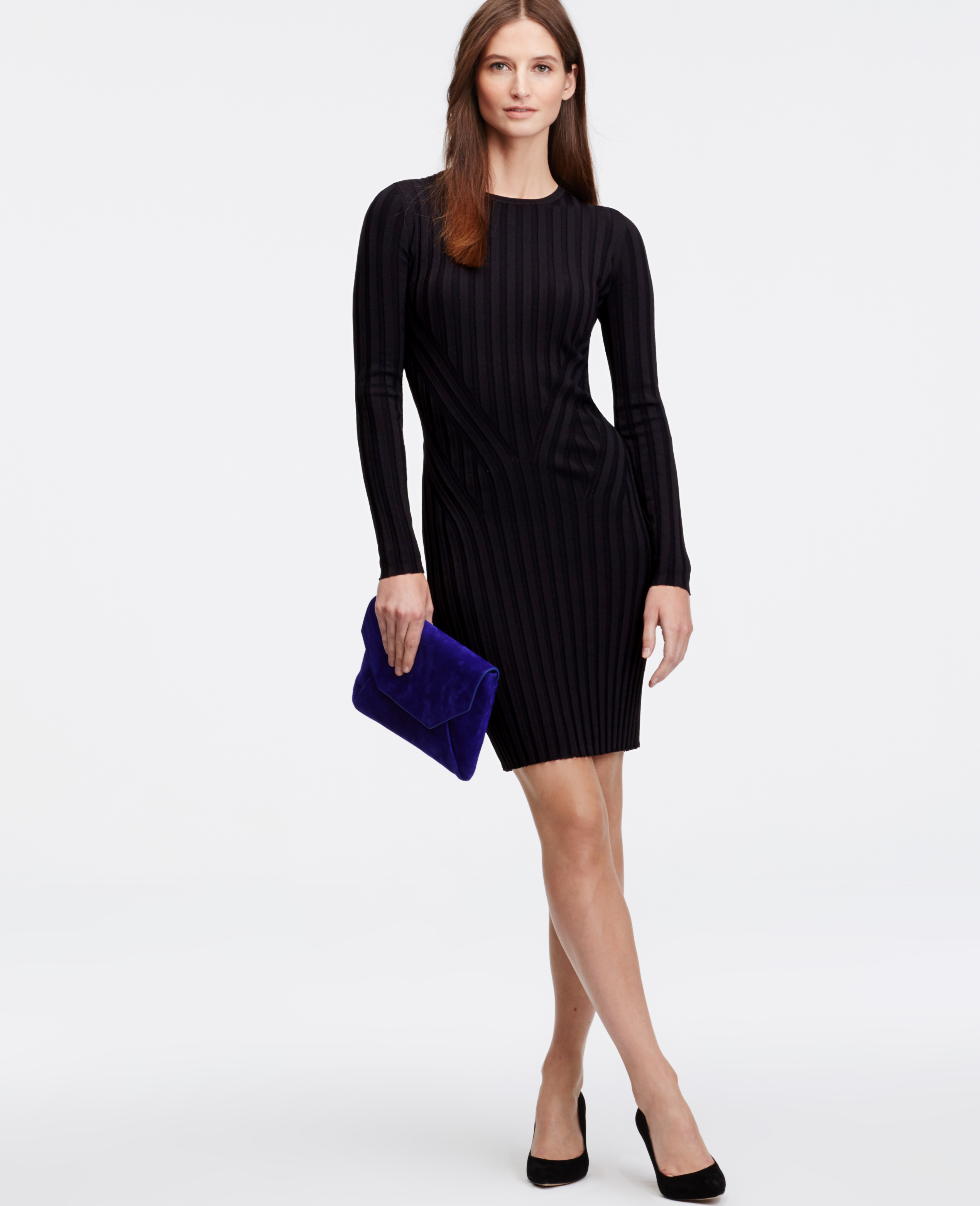395fa7d4573 Ann Taylor Ribbed Sweater Dress in Black - Lyst