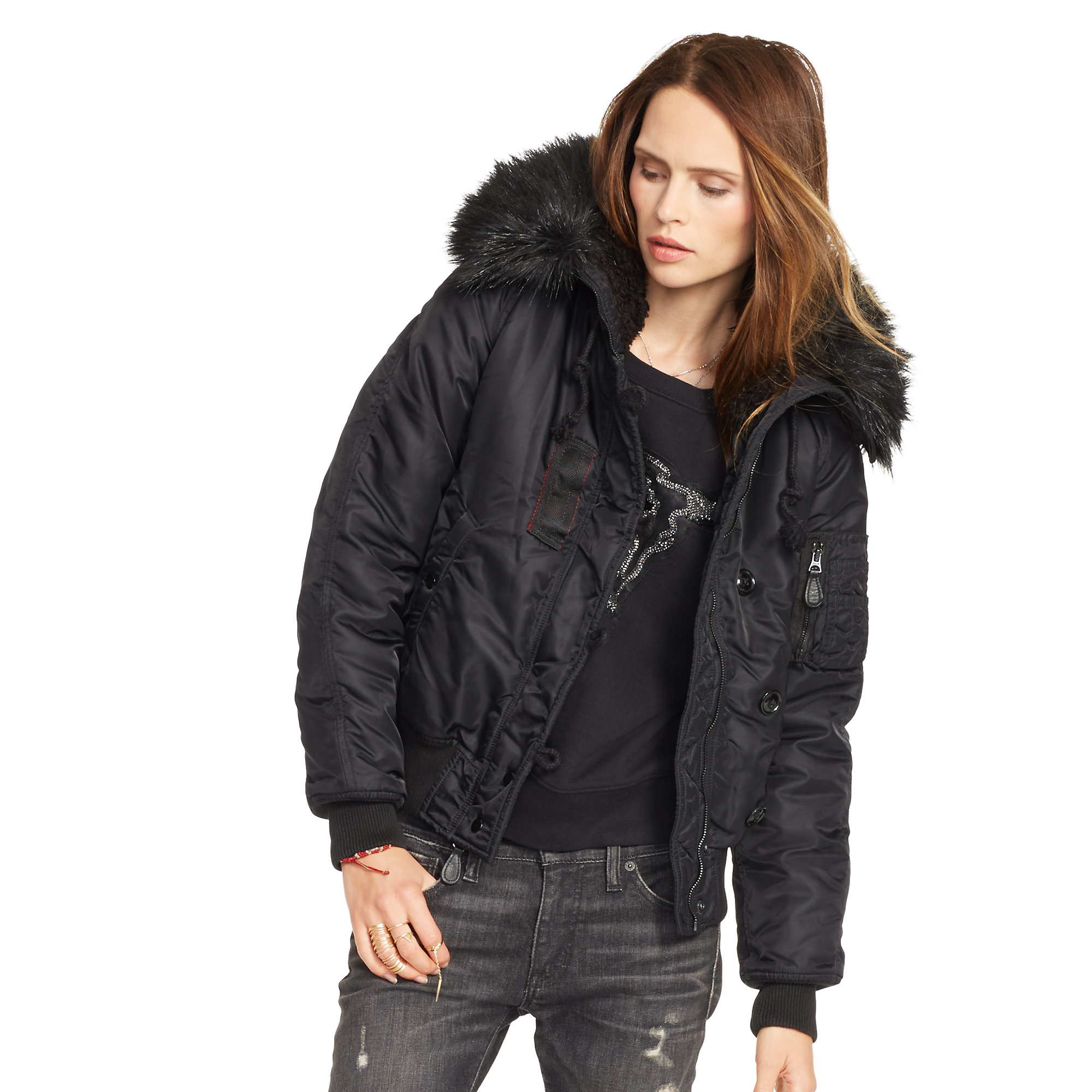 Denim & supply ralph lauren Hooded Down Bomber Jacket in Black | Lyst