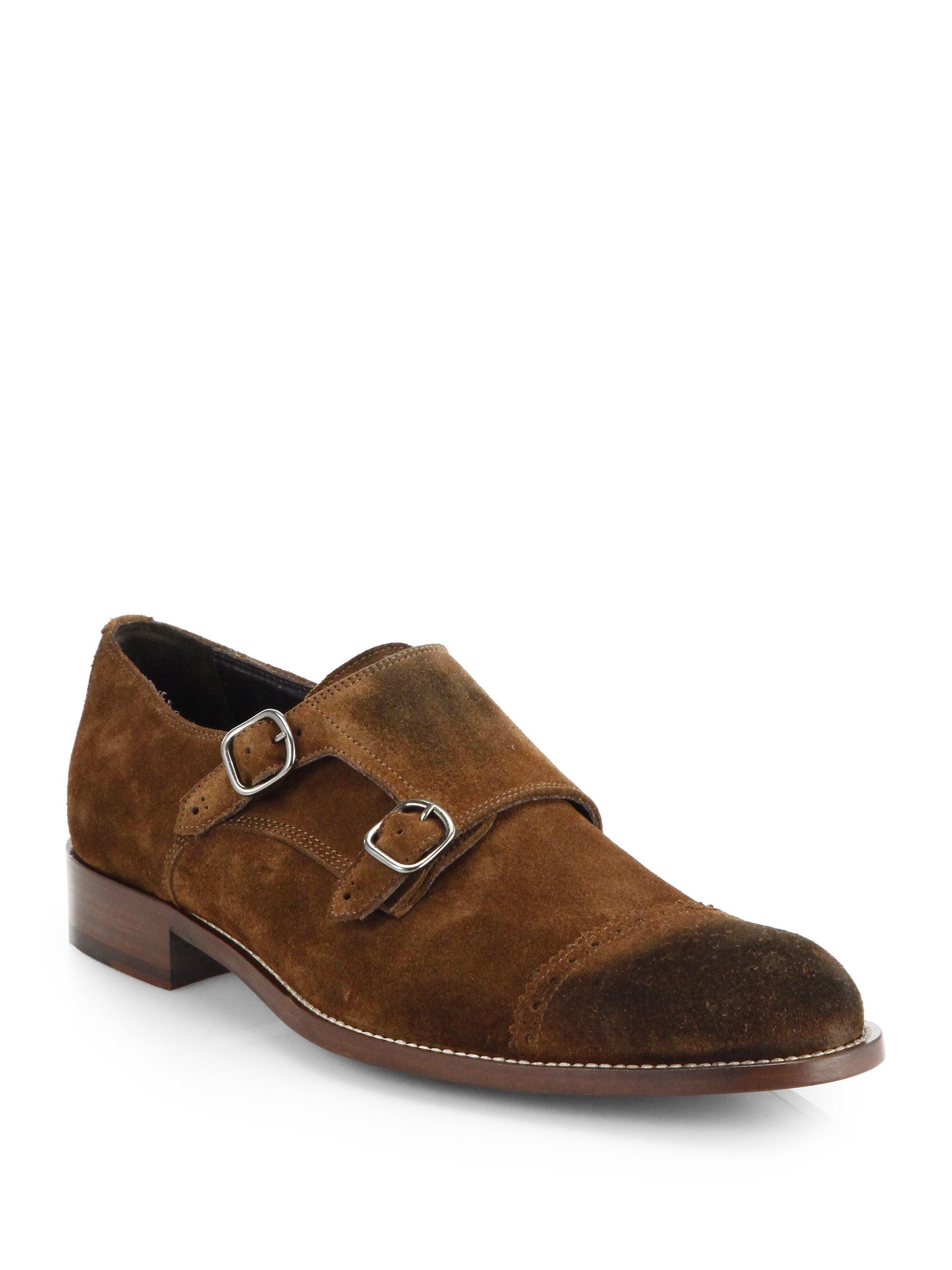 Bally Mens Suede Monkstrap Shoes
