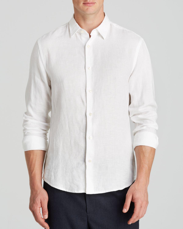 Vince Yarn Dye Linen Chambray Button Down Shirt Slim Fit