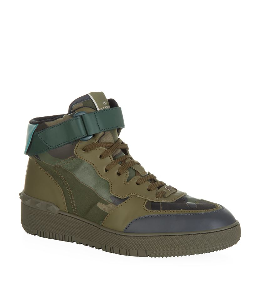 valentino rock b camo high top sneaker in green lyst. Black Bedroom Furniture Sets. Home Design Ideas