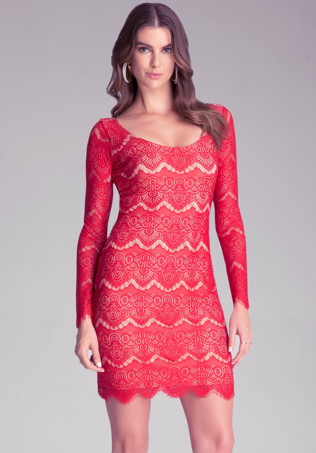 659d3094402 Bebe Long Sleeve Lace Dress in Red - Lyst