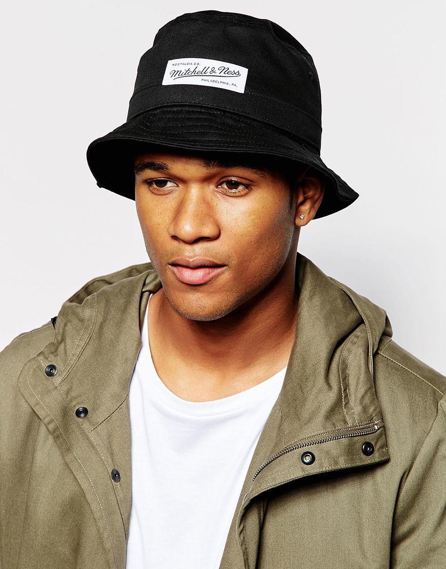 ff4999b75 Mitchell & Ness Black Label Logo Bucket Hat for men