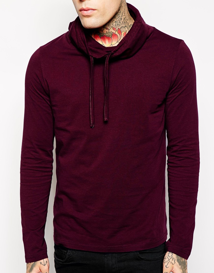 Asos Long Sleeve Tshirt with Cowl Neck in Red for Men | Lyst