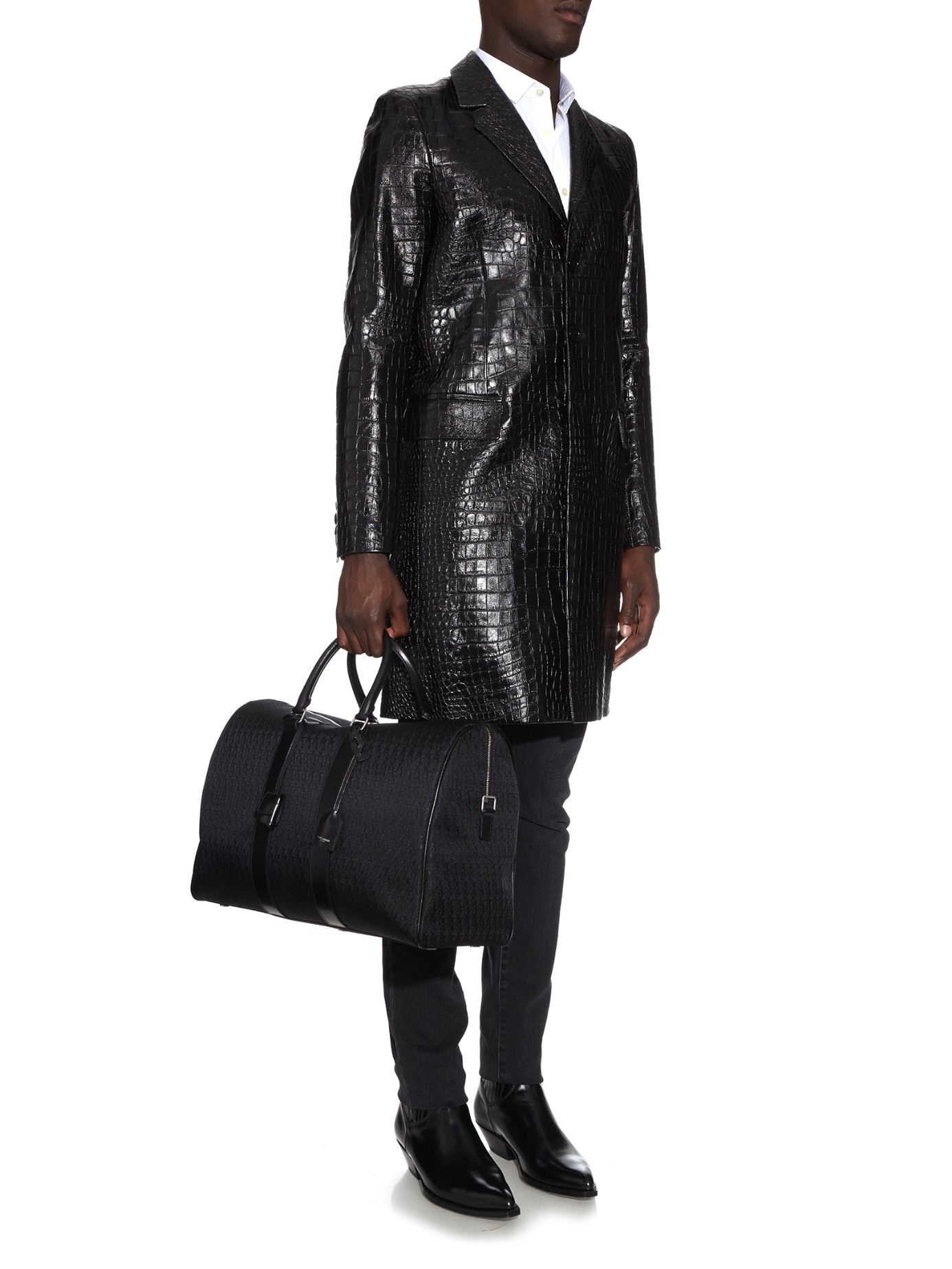 01481c52ce9a Lyst - Saint Laurent Jacquard Weekend Bag in Black for Men