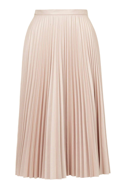 e47786ebf TOPSHOP Pu Pleated Midi Skirt in Pink - Lyst