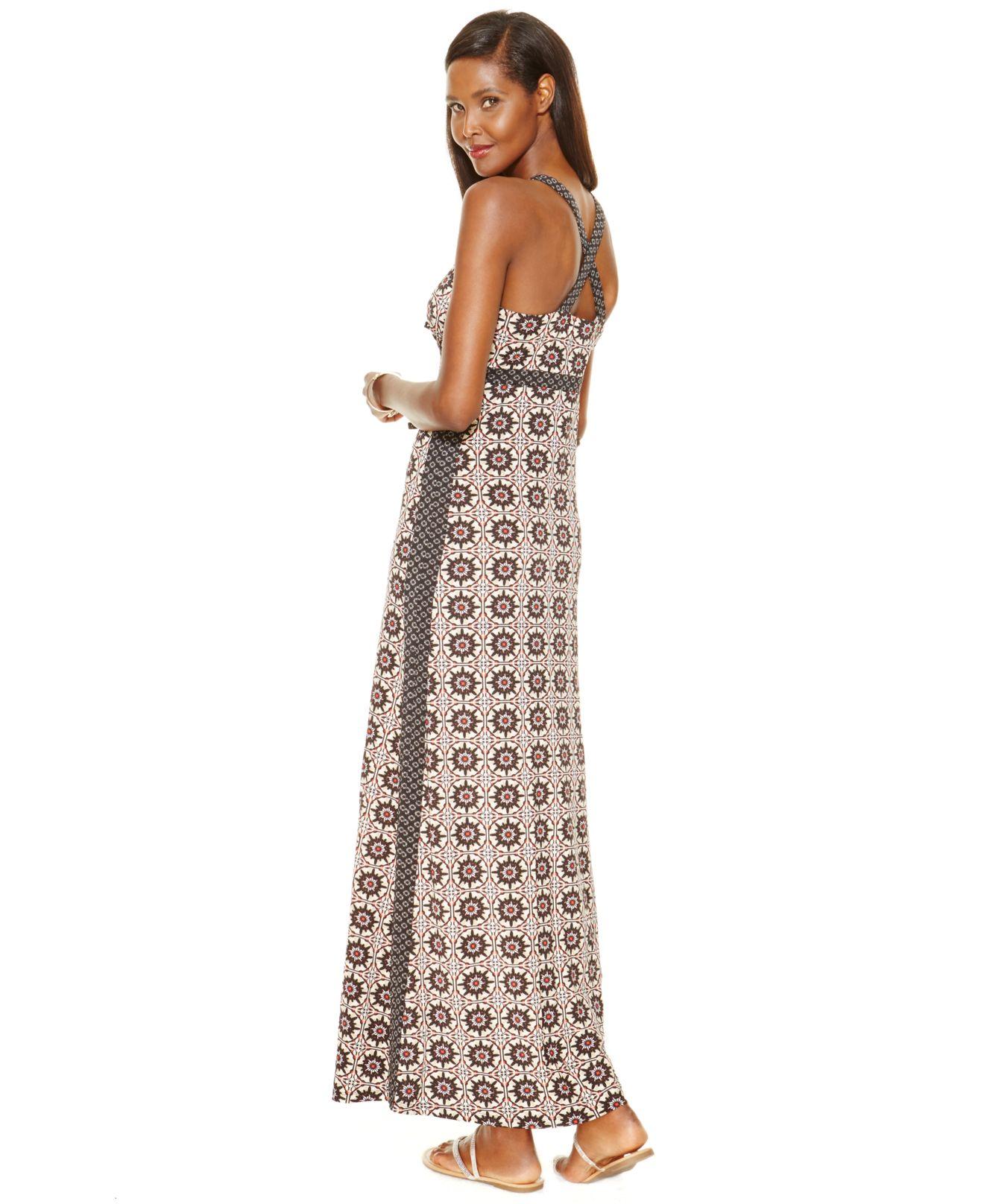 38abc0e0d4c Lyst - INC International Concepts Printed Cross-back Maxi Dress in ...