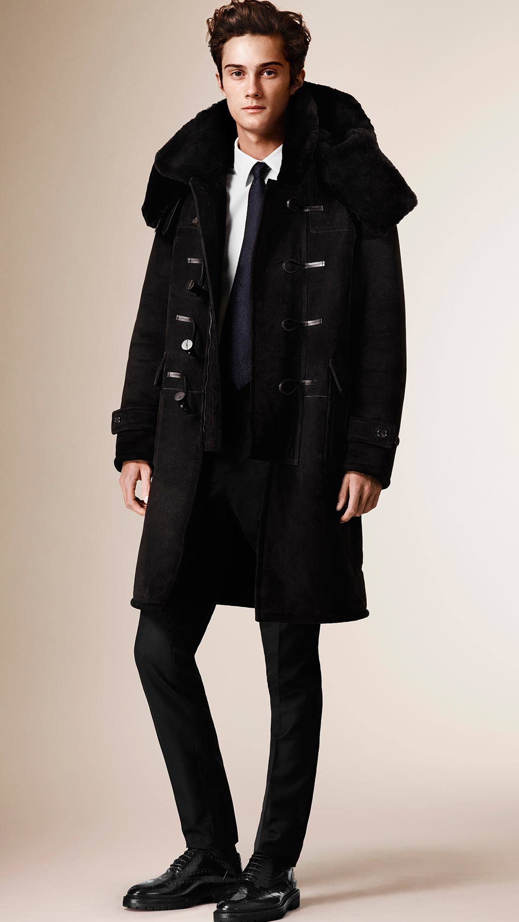 Burberry Shearling Duffle Coat in Black for Men | Lyst