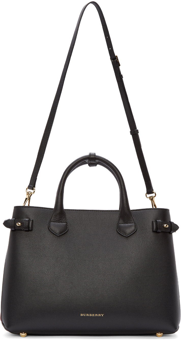 a7e92806265d Lyst - Burberry Black And Plum Medium Banner Tote in Black
