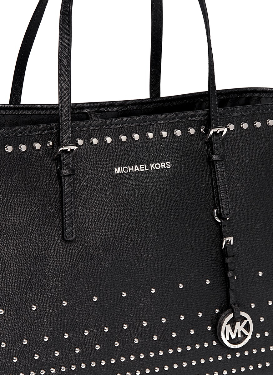437a5ecdeb5f ... italy lyst michael kors jet set large saffiano leather stud tote in  black 1c5e8 86088