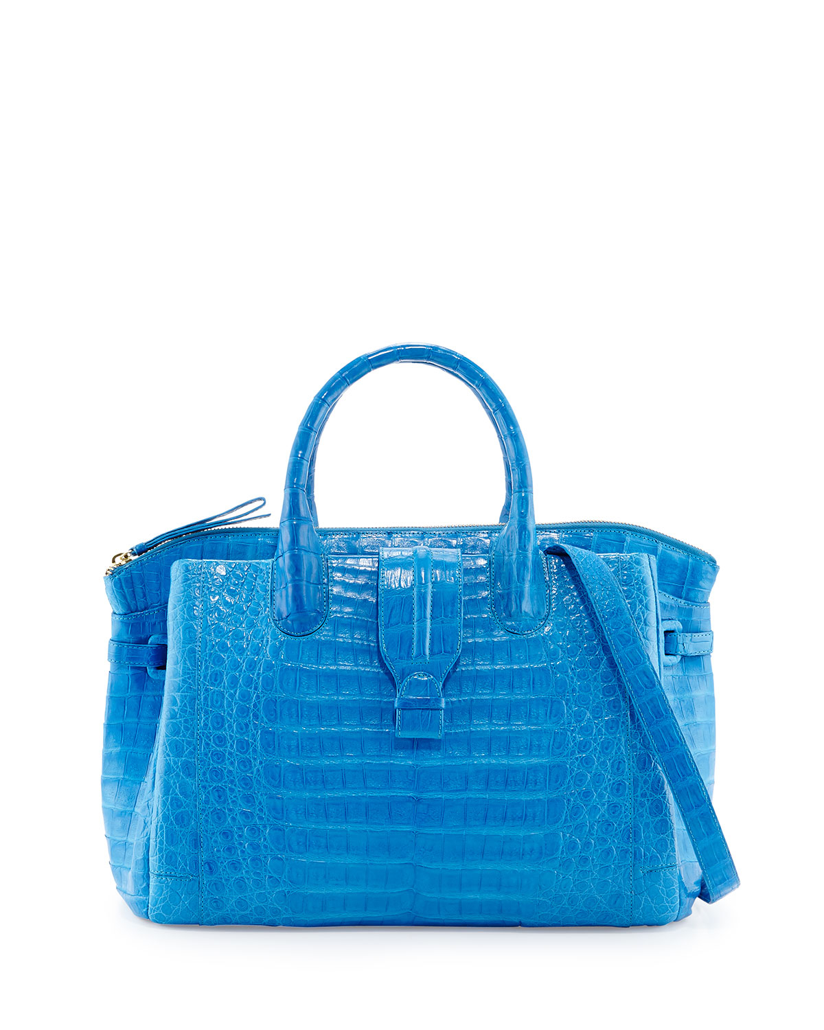 nancy gonzalez cristina medium crocodile tote bag in blue