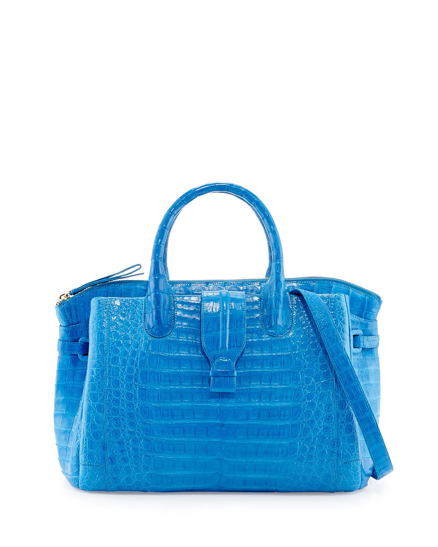 nancy gonzalez cristina medium crocodile tote bag in blue