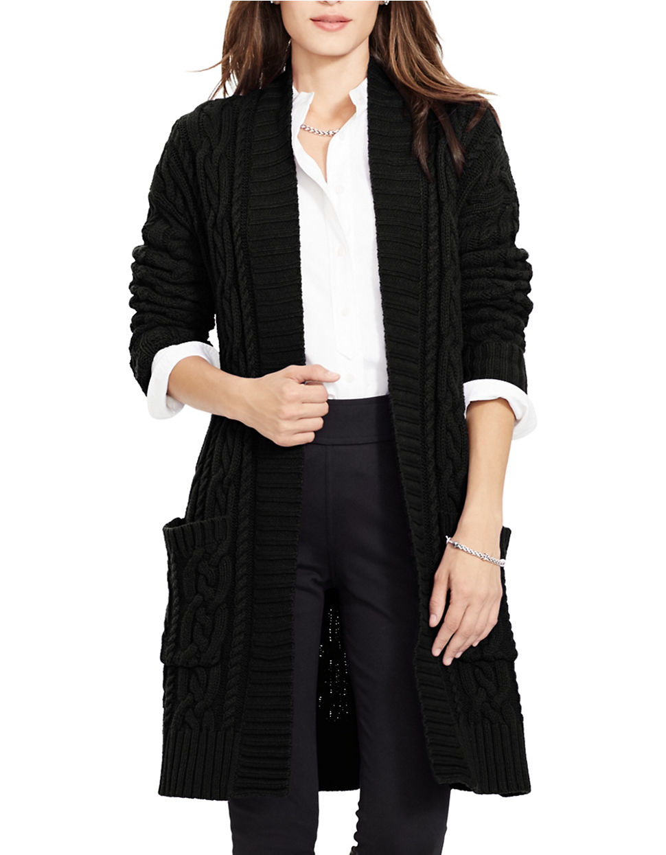 Lauren by ralph lauren Petite Cable-knit Open-front Cardigan in ...