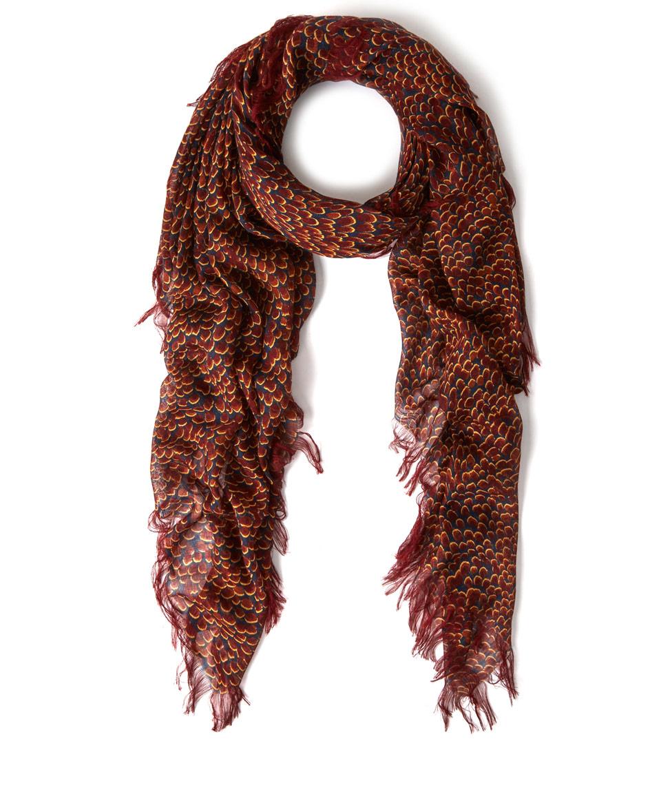 chlo 233 burgundy animal print silk blend scarf in