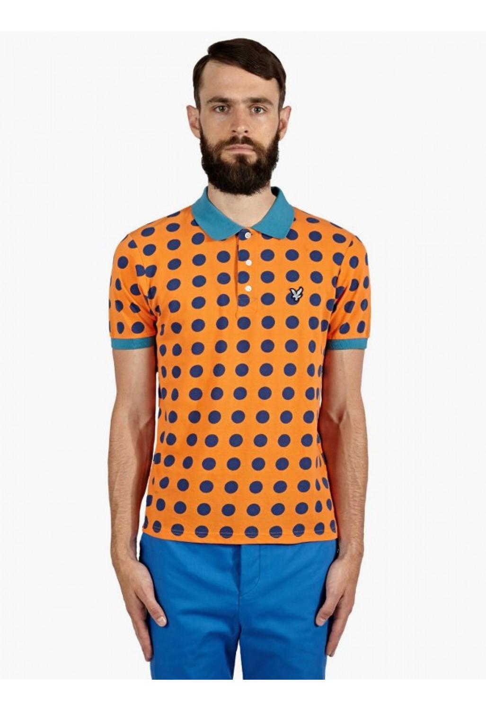 Lyle scott men 39 s polka dot polo shirt in orange for men for Orange polo shirt mens