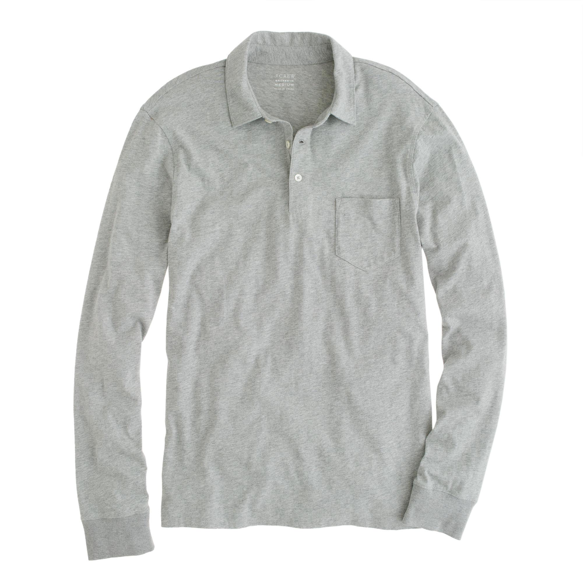 f8b81dfd7f61 Lyst - J.Crew Tall Broken-in Long-sleeve Pocket Polo Shirt in Gray ...